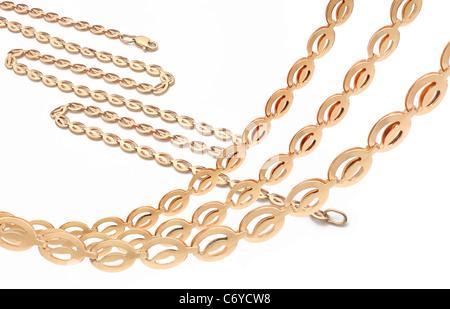 Golden chain over white - Stock Photo