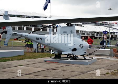 MQ-8B Fire Scout VTUAV Unmanned Aerial Vehicle at the Farnborough International Airshow - Stock Photo