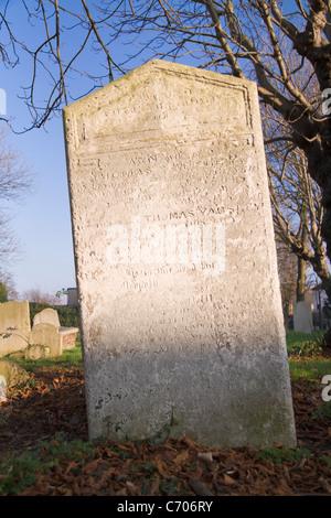 Weathered 19th century gravestone, London, England - Stock Photo