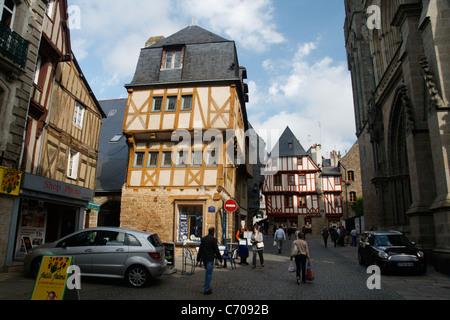 brittany france vannes morbihan medieval shops and houses stock photo royalty free image. Black Bedroom Furniture Sets. Home Design Ideas
