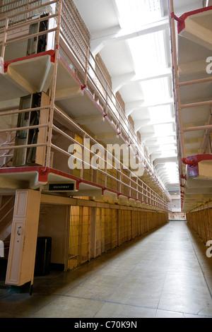 Prison cells in 'Broadway' in main cellhouse at Alcatraz Prison, Alcatraz Island, San Francisco Bay, California, - Stock Photo