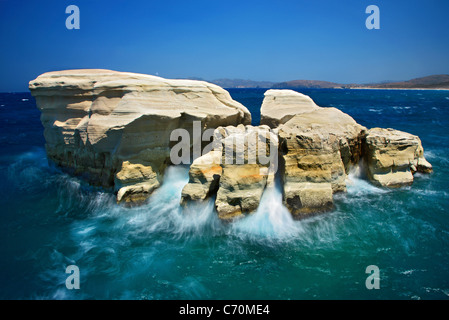 Long exposure shot of some rocks in Sarakiniko beach, just to give the impression of the 'birth of an island'. Milos, - Stock Photo