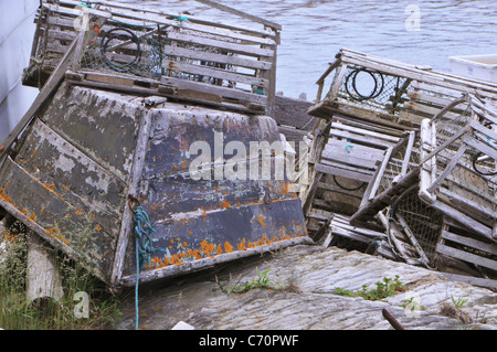 Lobster traps used in the Atlantic and the Bay of Fundy. - Stock Photo