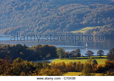 Aerial view of valley lake - Stock Photo