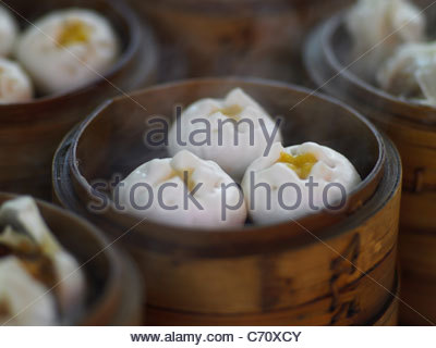 Close up of steamed dumplings - Stock Photo