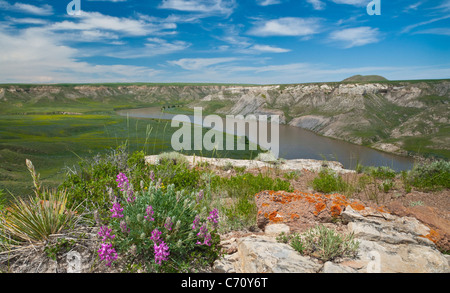 Missouri River from the top of Hole In The Wall rock formation; Upper Missouri River Breaks National Monument, Montana. - Stock Photo
