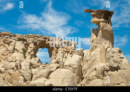 Hole in the Wall rock formation, Upper Missouri River Breaks National Monument, Montana. - Stock Photo