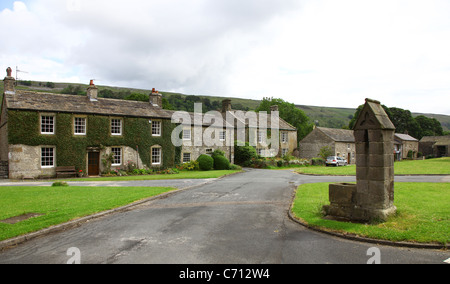 The village green and water pump at Arncliffe, Littondale,Yorkshire, Yorkshire Dales National Park, England English - Stock Photo