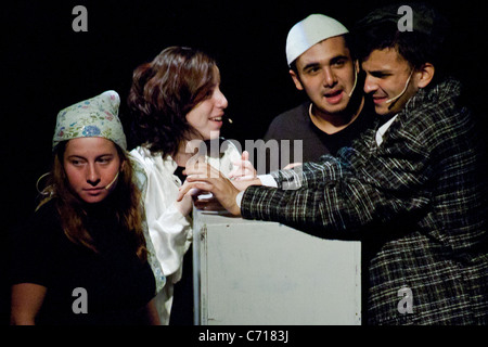 Martef Basement Theater young actors perform 'The Strength to Tell' to honor Holocaust survivors. Jerusalem, Israel. - Stock Photo