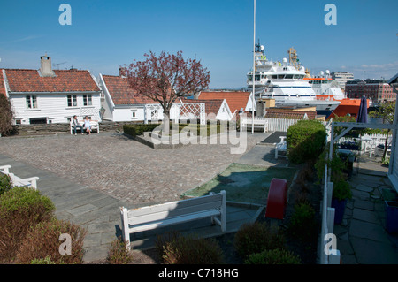 View of the port from Gamle Stavanger, Norway - Stock Photo