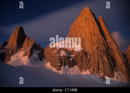 Sunrise on Mount Fitz Roy, El Chalten, Patagonia, Argentina. - Stock Photo