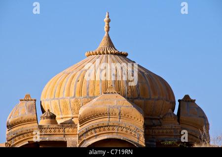 Dome Royal cenotaph or chattris Bada Bagh Jaisalmer Western Rajasthan India - Stock Photo
