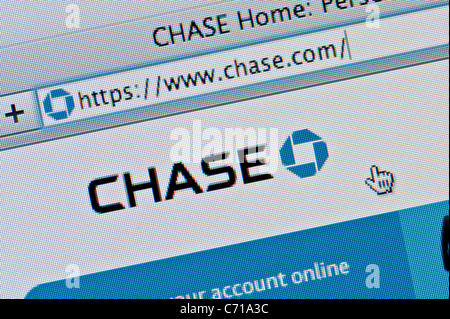 Close up of the Chase logo as seen on its website. (Editorial use only: print, TV, e-book and editorial website). - Stock Photo