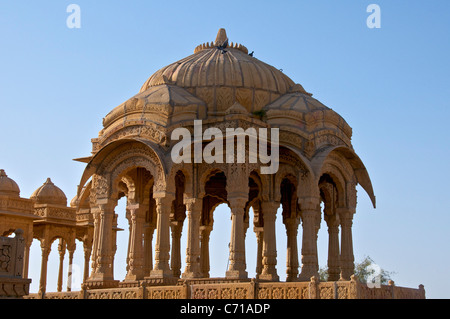 Royal cenotaph or chattris Bada Bagh Jaisalmer Western Rajasthan India - Stock Photo