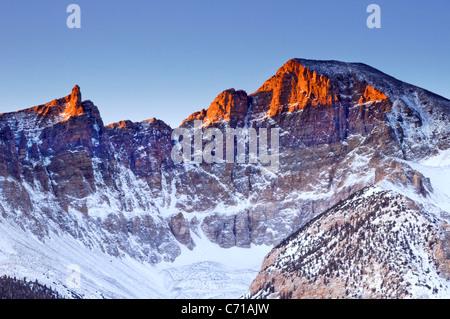 Early morning light illuminates Wheeler Peak in Great Basin National Park. - Stock Photo