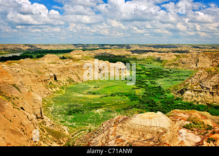 View of Red Deer river valley in Badlands in Dinosaur provincial park, Alberta, Canada - Stock Photo