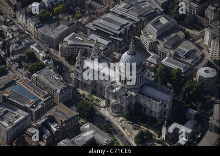 Aerial view of St Paul's Cathedral London - Stock Photo