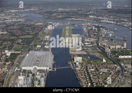 Aerial view of London City Airport in Docklands - Stock Photo
