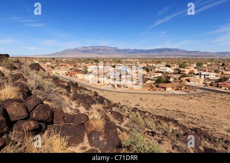 View from Petroglyph National Monument over Albuquerque toward Sandia Peak.  New Mexico, USA. - Stock Photo