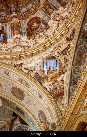 Corner detail of the dome of the Ceremonial Hall. The domed and decorated ceiling above the massive  chandelier - Stock Photo