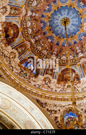 Detail of the dome of the Ceremonial Hall. The domed and decorated ceiling above the massive (and famous) chandelier - Stock Photo