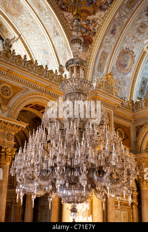 Chandelier in the Ceremonial Hall at Dolmabahce Palace. The massive chandelier of the ballroom of this over-the - Stock Photo