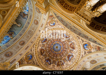 The dome of the Ceremonial Hall of Dolmabahce Palace. The domed and decorated ceiling above the ballroom. - Stock Photo
