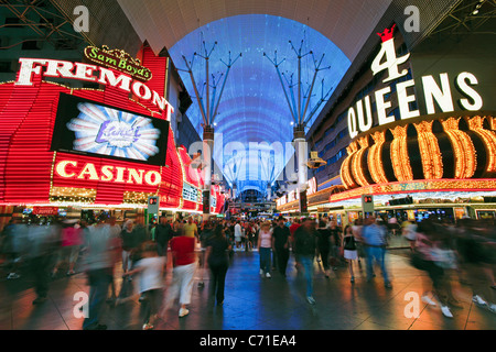 United States of America, Nevada, Las Vegas, The Fremont Street Experience in Downtown Las Vegas - Stock Photo