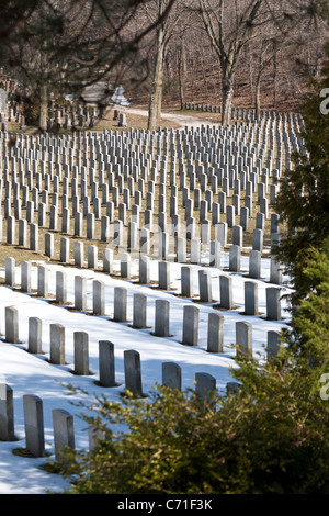 Row on Row from on high. In Bayview Cemetery's military section grey granite headstones mark the graves - Stock Photo