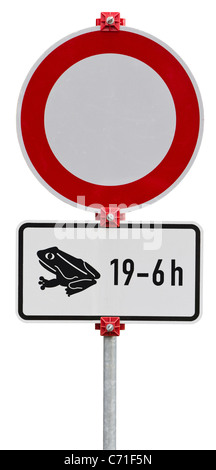 No through road because of frogs. Round sign. Isolated on white with clipping path - Stock Photo