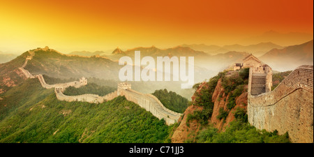 Great Wall of China at Sunrise. - Stock Photo