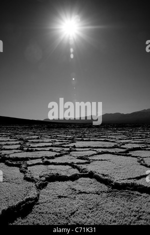 Badwater dry salt flat in Death Valley - Stock Photo