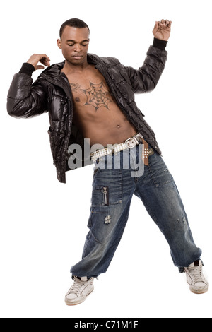Street dancer performs rap dance on isolated background - Stock Photo