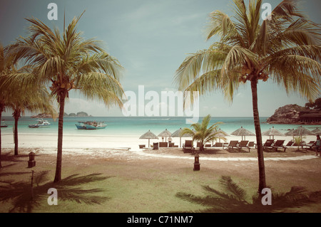 Beach with palm trees, nostalgic look, Pulau Redang Island, Malaysia, Southeast Asia, Asia - Stock Photo