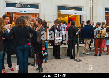 Paris, France, Crowd on Line outside Prada Store for 'Fashion Night' Sale event on, Ave. Montaigne - Stock Photo