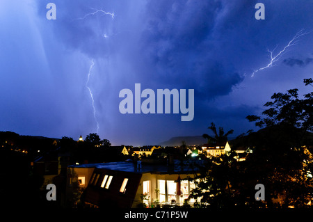 Dramatic thunderstorm at night, Jena, Thuringia, Germany, Europe - Stock Photo