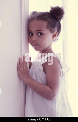 Little girl in white dress, portrait - Stock Photo
