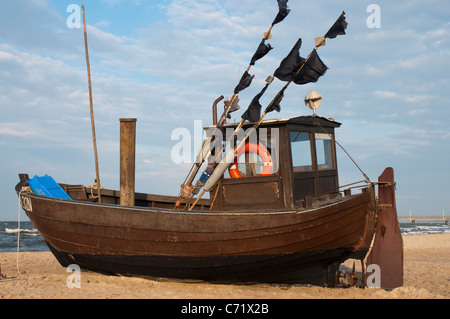 Fishing boat on the beach, Usedom, Baltic Sea, Mecklenburg-Vorpommern, Germany, Europe