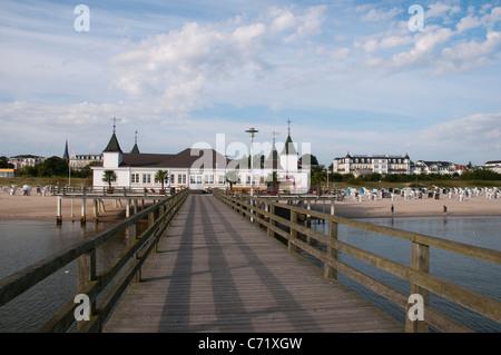 Ahlbeck pier, Usedom Island, Baltic Sea, Mecklenburg-Vorpommern, Germany, Europe - Stock Photo