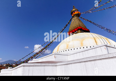 Buddhist stupa at Bodhnath, Kathmandu, Nepal - Stock Photo