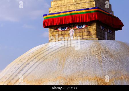 Buddhist stupa at Bodhnath, Kathmandu, Nepal - Stock Photo