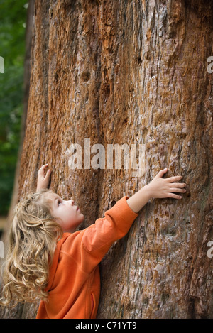 Girl embracing tree - Stock Photo