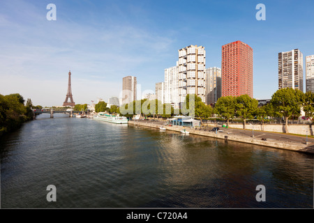 France, Paris, View Of River Seine With High-rise Buildings On The Left Bank And Eiffel Tower - Stock Photo