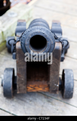 A cannon at Fisherman's Wharf in Victoria, BC, Canada. - Stock Photo