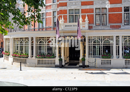 The Connaught Hotel front entrance and façade Mayfair London - Stock Photo