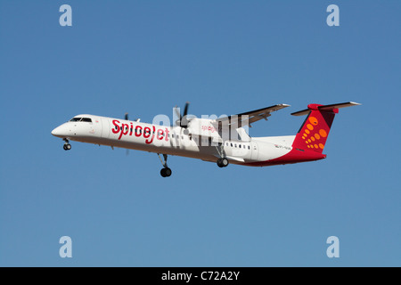 Bombardier Q400 short haul regional airliner belonging to the Indian low-cost airline SpiceJet - Stock Photo