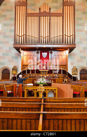 Grand pipe organ and pulpit in Townsend Street Presbyterian Church - Stock Photo