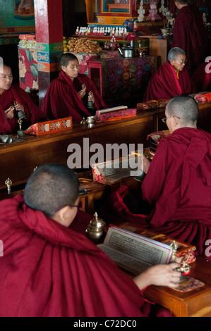 Prayer ritual in Ani Gumba, a Sherpa Buddhist monastery inside Shivapuri National Park, outside Kathmandu - Stock Photo
