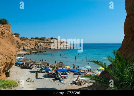 Beach at Sa Caleta, Ibiza, Balearics, Spain - Stock Photo