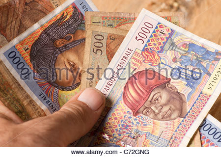Money banknote – Old French Franc France Europe European FrancsCentral African Francs - valid in Chad Tchad Mali - Stock Photo